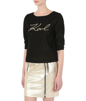 KARL LAGERFELD GOLD SIGNATURE SWEATSHIRT