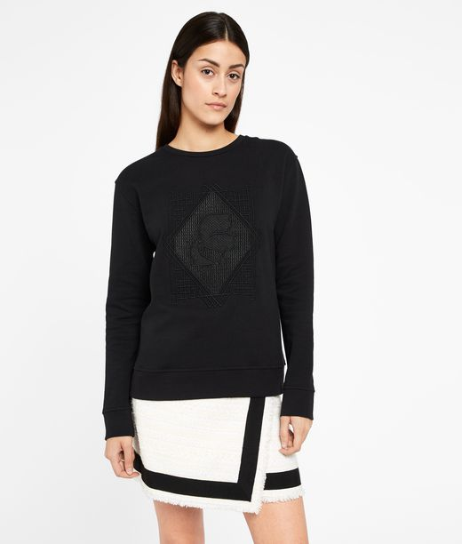 KARL LAGERFELD Embroidered Pleated Back Sweat 12_f