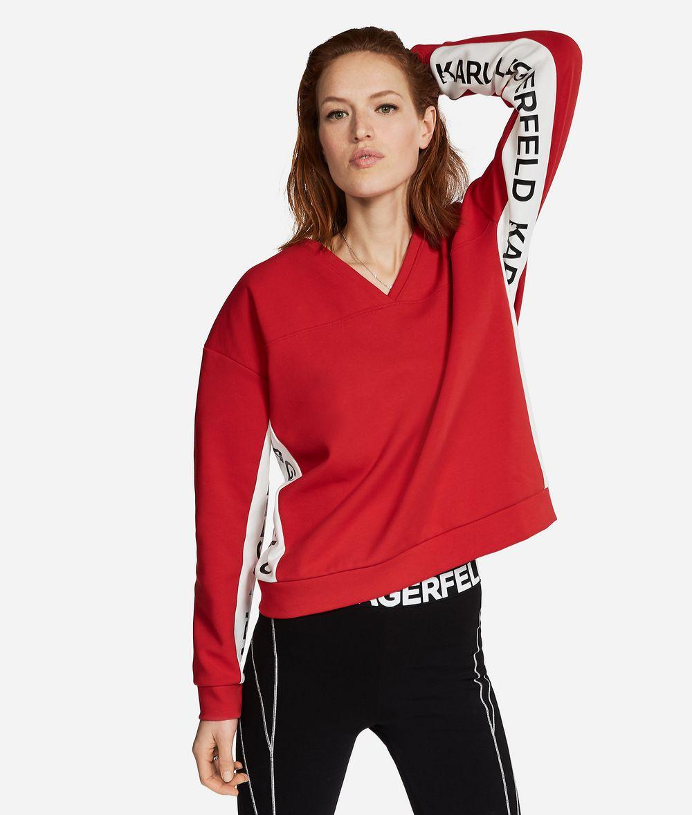 KARL LAGERFELD Logo-Sweatshirt mit V-Ausschnitt Sweatshirt Damen f