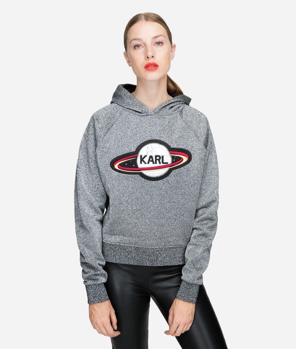 KARL LAGERFELD Karl Space Kurzer Hoodie Sweatshirt Damen f