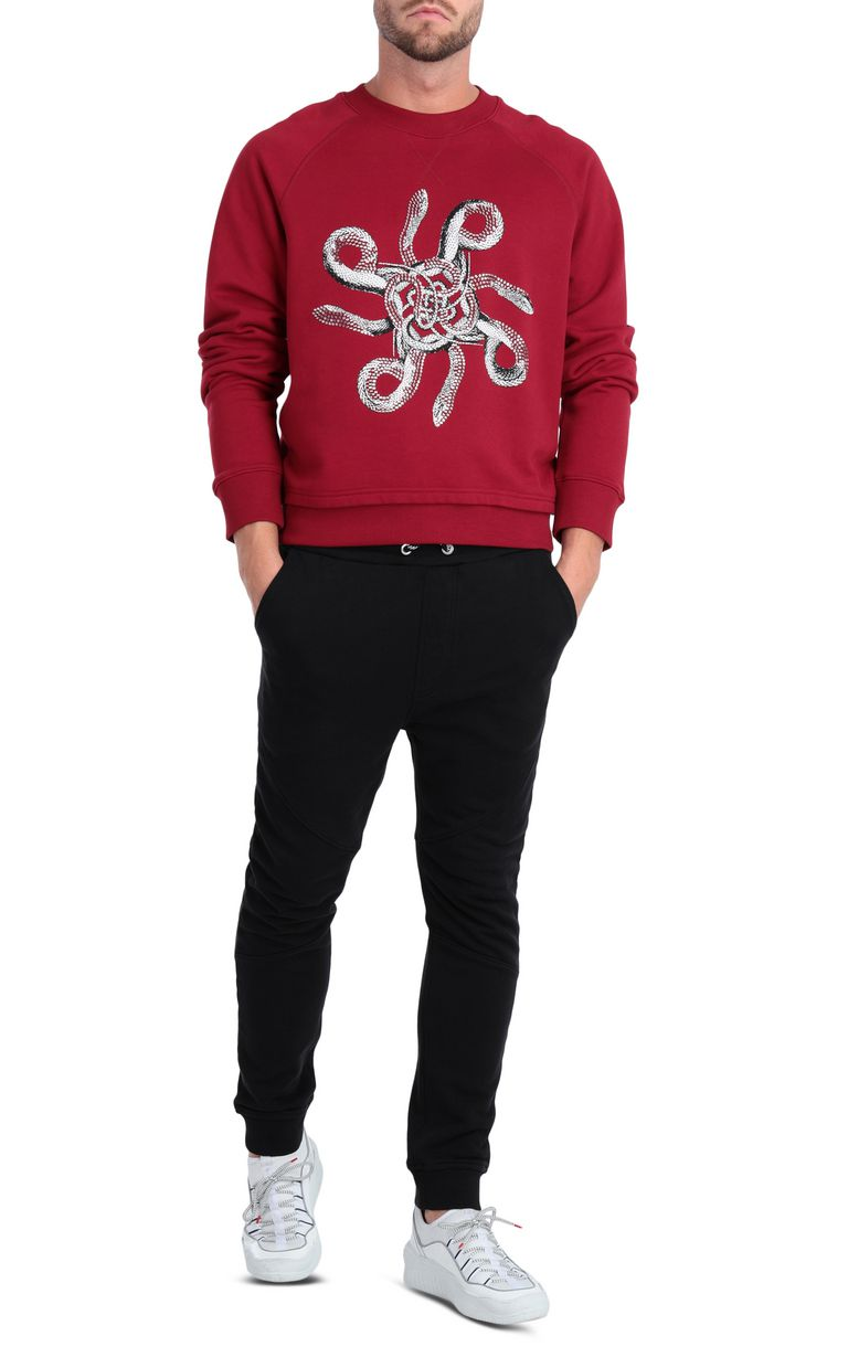 JUST CAVALLI Animal-print sweatshirt in red Sweatshirt Man d