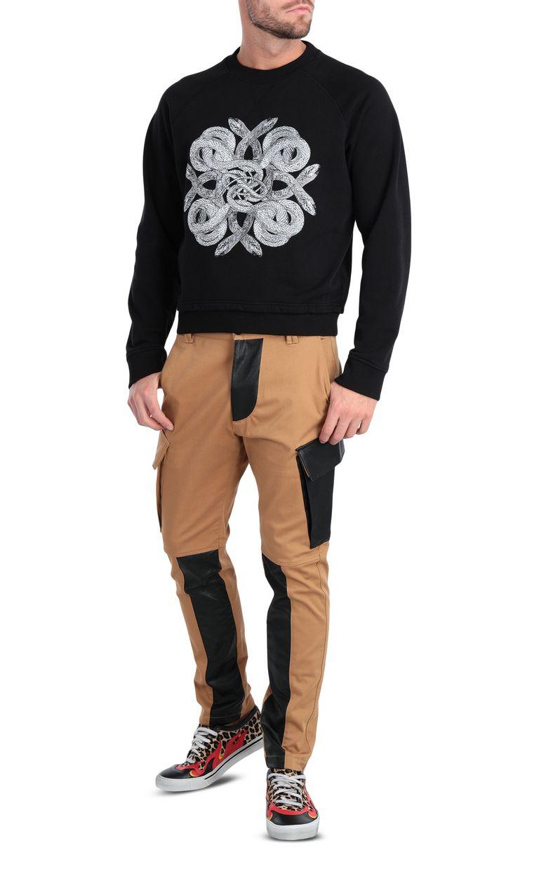 JUST CAVALLI Animal-print sweatshirt in black Sweatshirt Man d