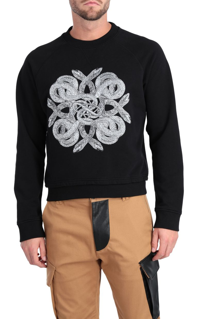 JUST CAVALLI Animal-print sweatshirt in black Sweatshirt Man f