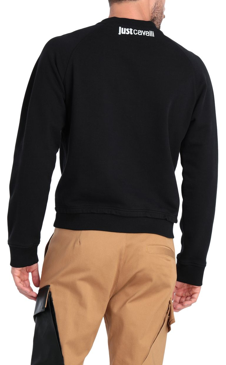 JUST CAVALLI Animal-print sweatshirt in black Sweatshirt Man r