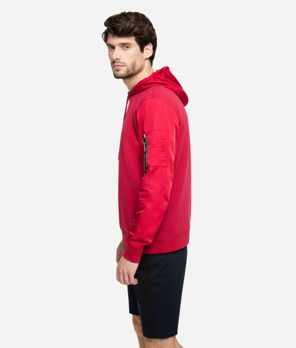 KARL LAGERFELD Fabric-Mix Hoodie Sweatshirt Man d