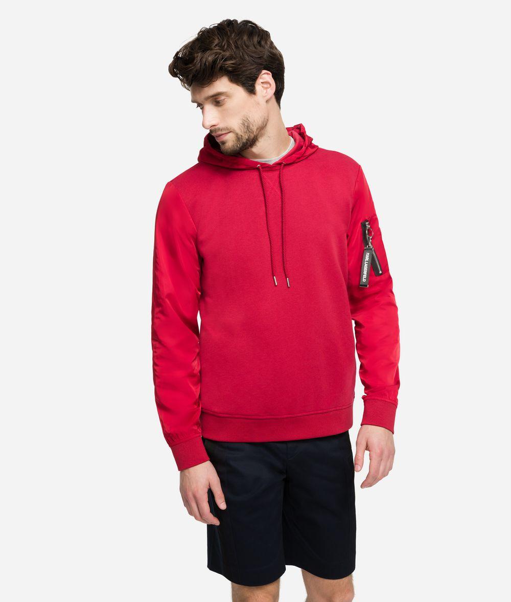 KARL LAGERFELD Fabric-Mix Hoodie Sweatshirt Man f
