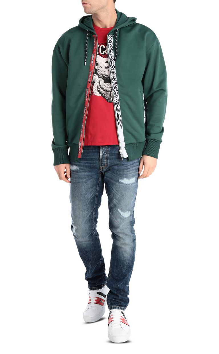 JUST CAVALLI Hoodie with leopard-print bands Sweatshirt Man d