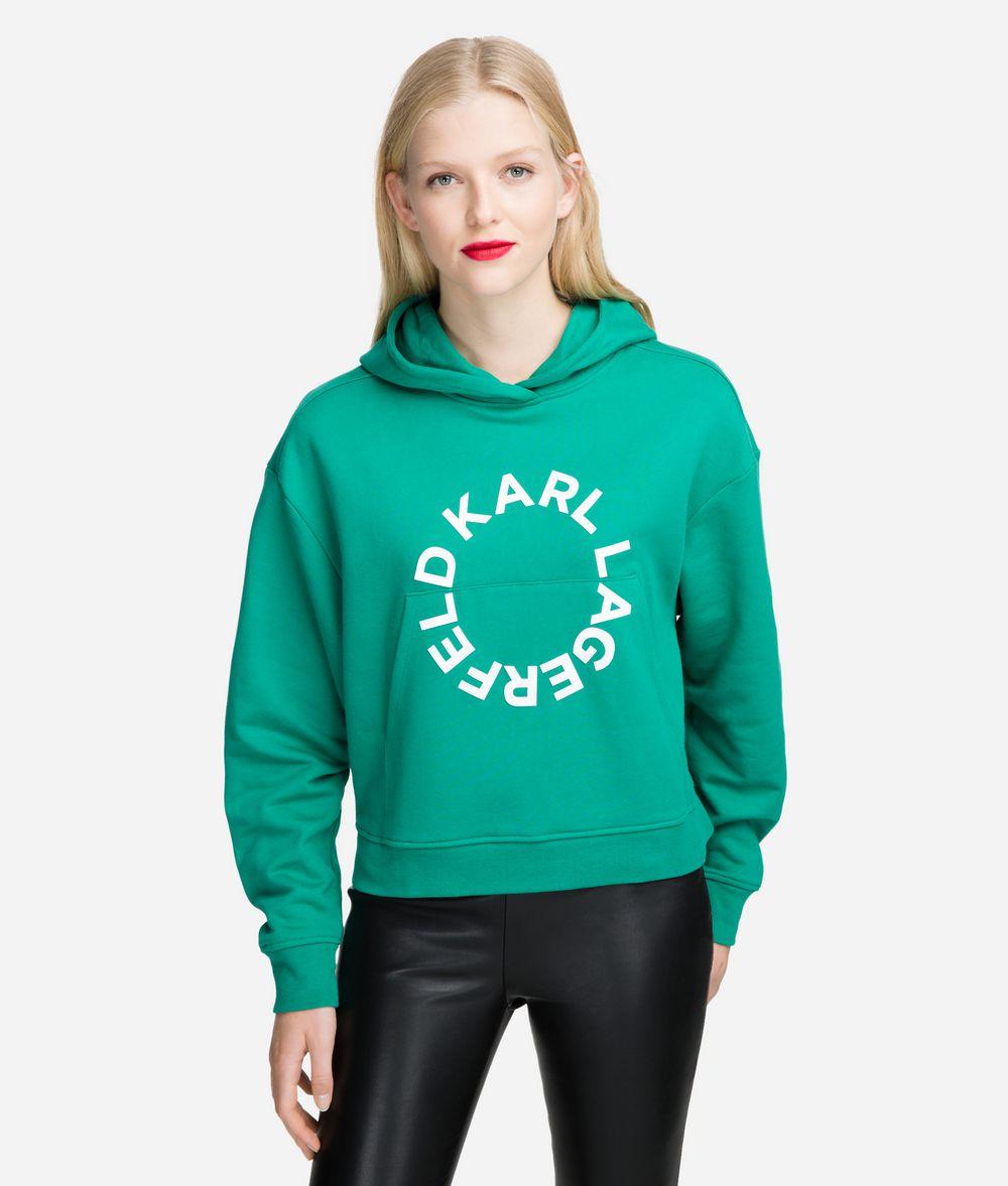 KARL LAGERFELD Cropped Logo Hoodie Sweatshirt Woman f