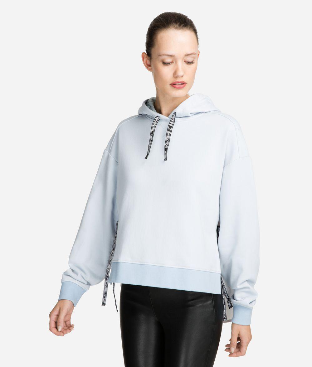 KARL LAGERFELD Fabric Mix Logo Hoodie Sweatshirt Woman f