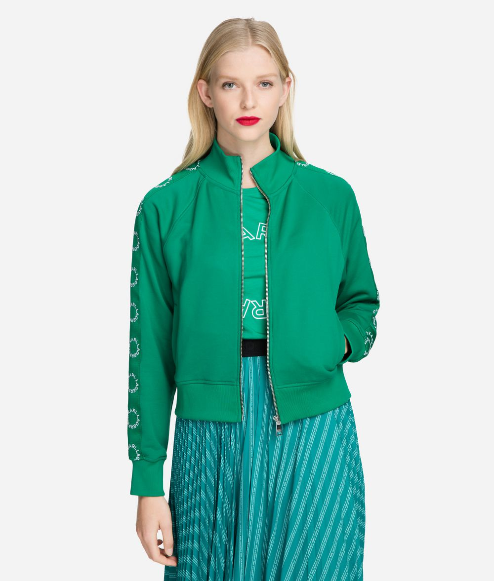KARL LAGERFELD Circle Logo Tape Zip-Up Sweat Jacket Sweatshirt Woman f