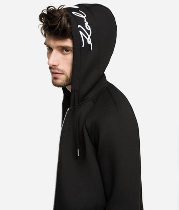KARL LAGERFELD SIGNATURE NEOPRENE ZIP-UP HOODIE