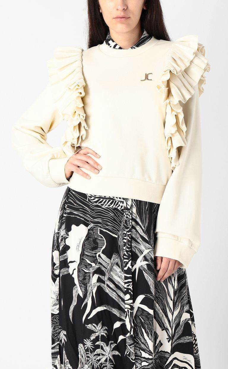 JUST CAVALLI Sweatshirt with pleated detailing Sweatshirt Woman r