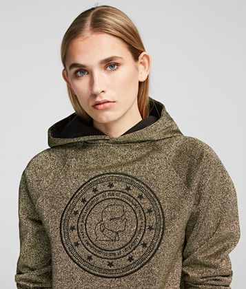 KARL LAGERFELD KARL'S TREASURE KAMEO COIN CROPPED HOODIE