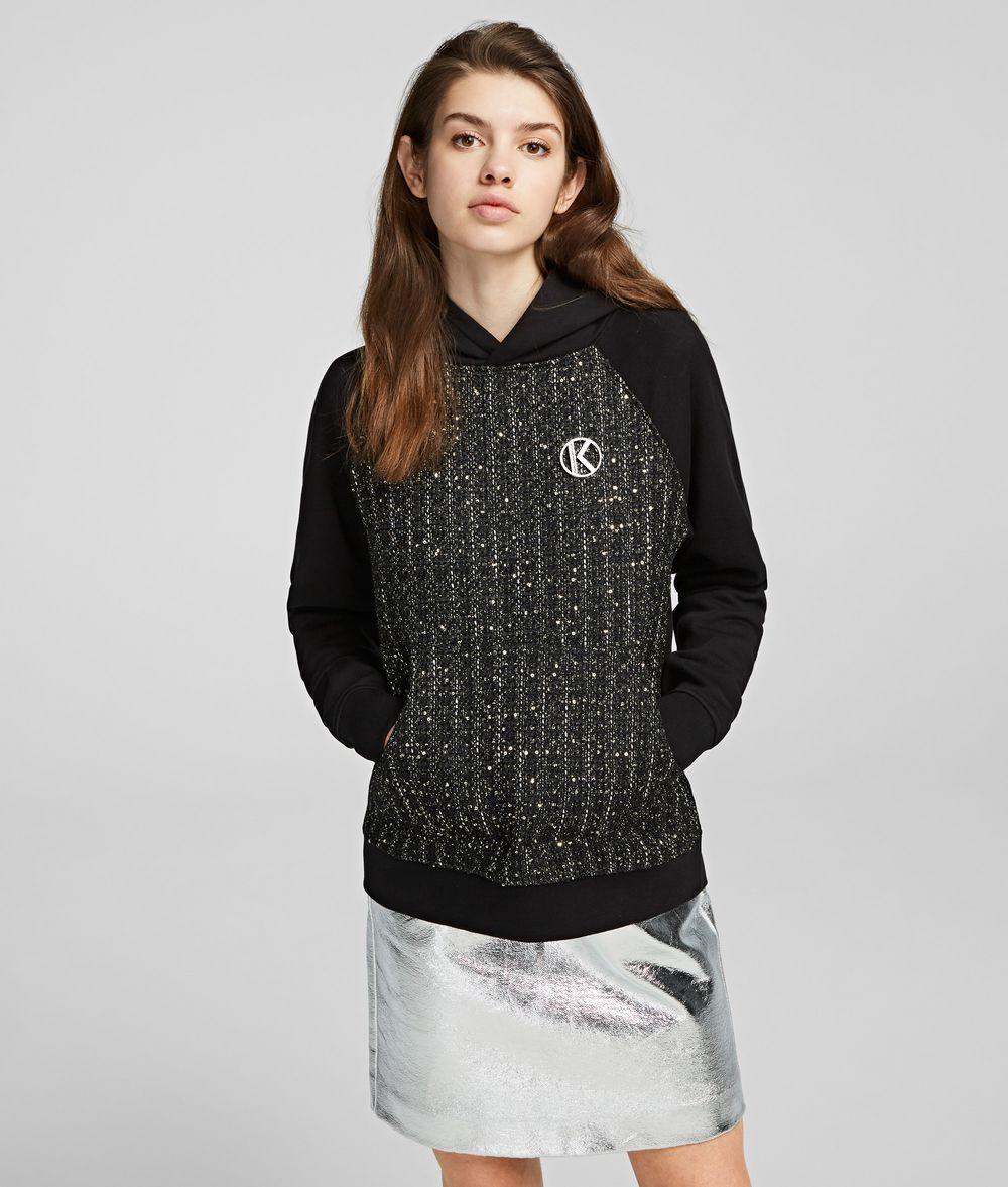 KARL LAGERFELD Bouclé Mix Hoodie Sweatshirt Woman f