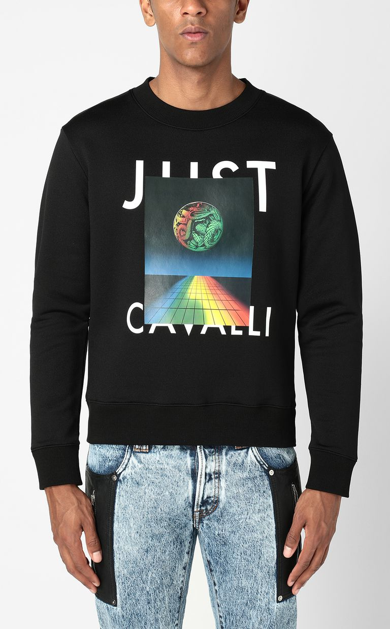 JUST CAVALLI Sweatshirt with Globo Snake print Sweatshirt Man r