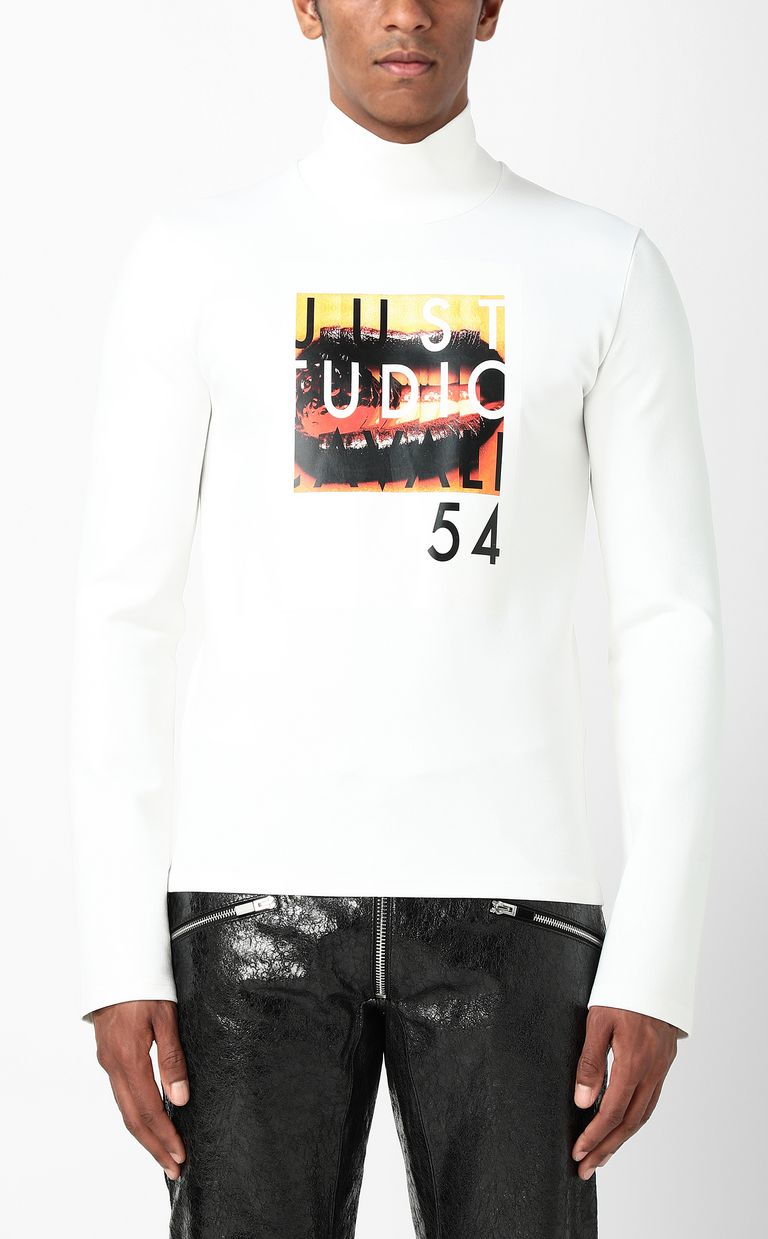JUST CAVALLI T-shirt with Poster Mouth print Sweatshirt Man r