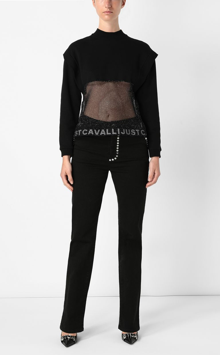 JUST CAVALLI Sweatshirt with mesh detail Sweatshirt Woman d