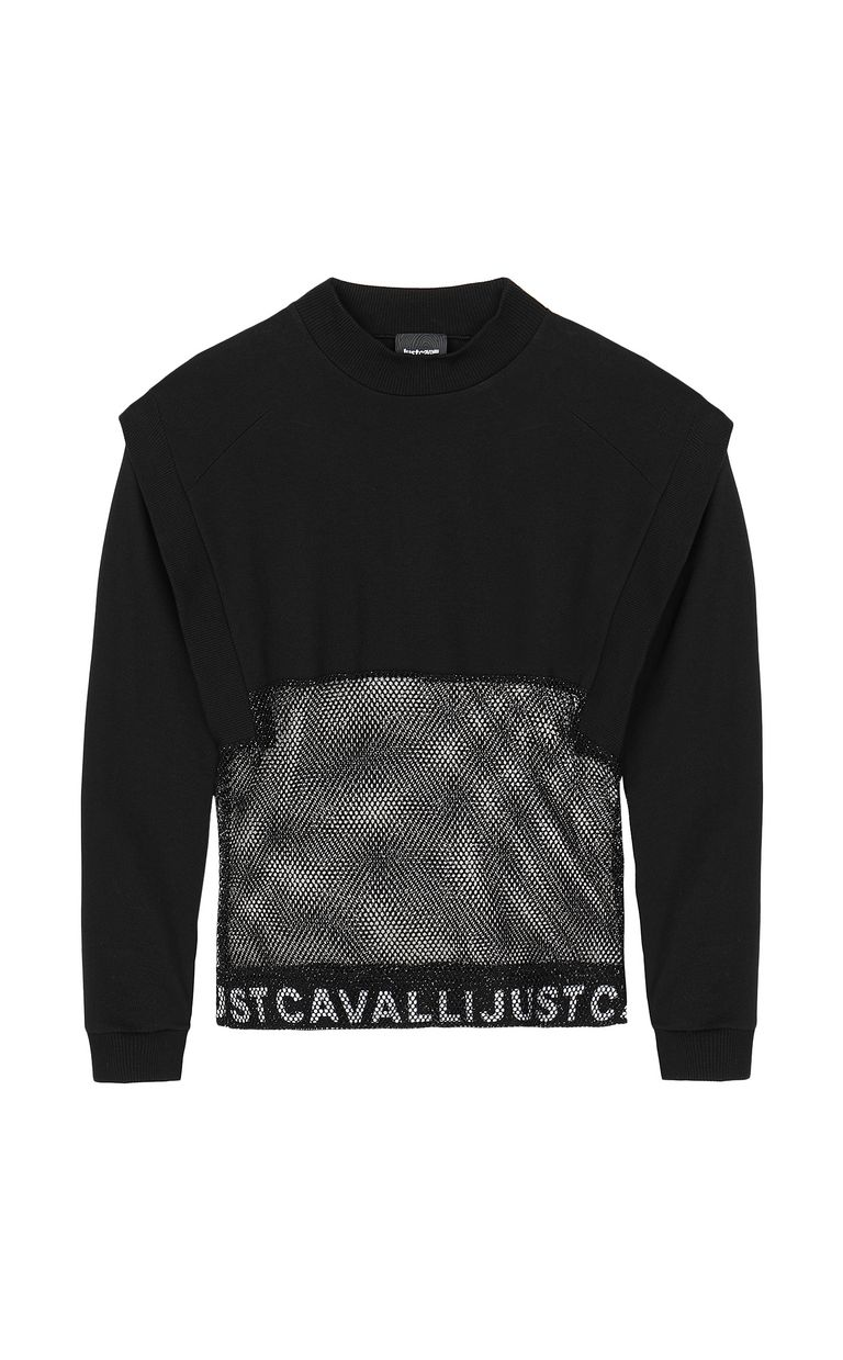 JUST CAVALLI Sweatshirt with mesh detail Sweatshirt Woman f