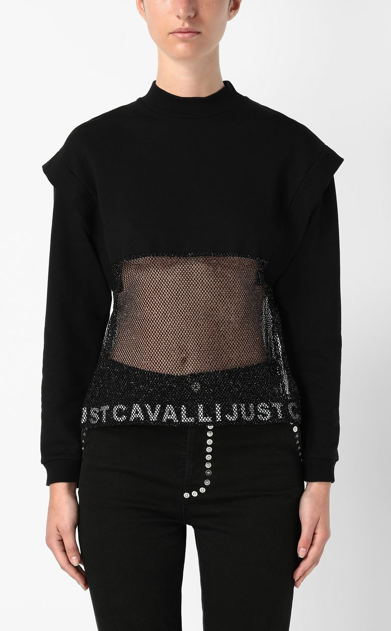 JUST CAVALLI Sweatshirt with mesh detail Sweatshirt Woman r