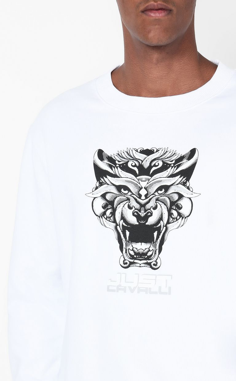 JUST CAVALLI Sweatshirt with Tiger-Knocker print Sweatshirt Man e