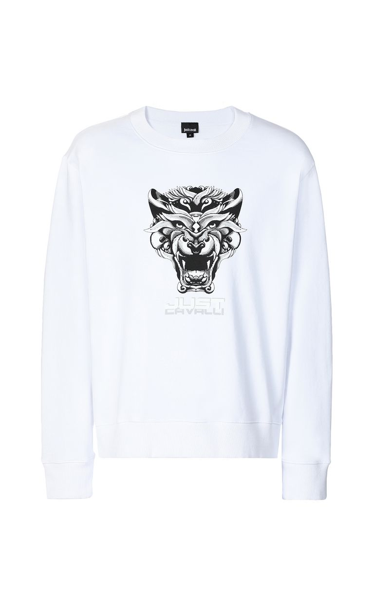 JUST CAVALLI Sweatshirt with Tiger-Knocker print Sweatshirt Man f