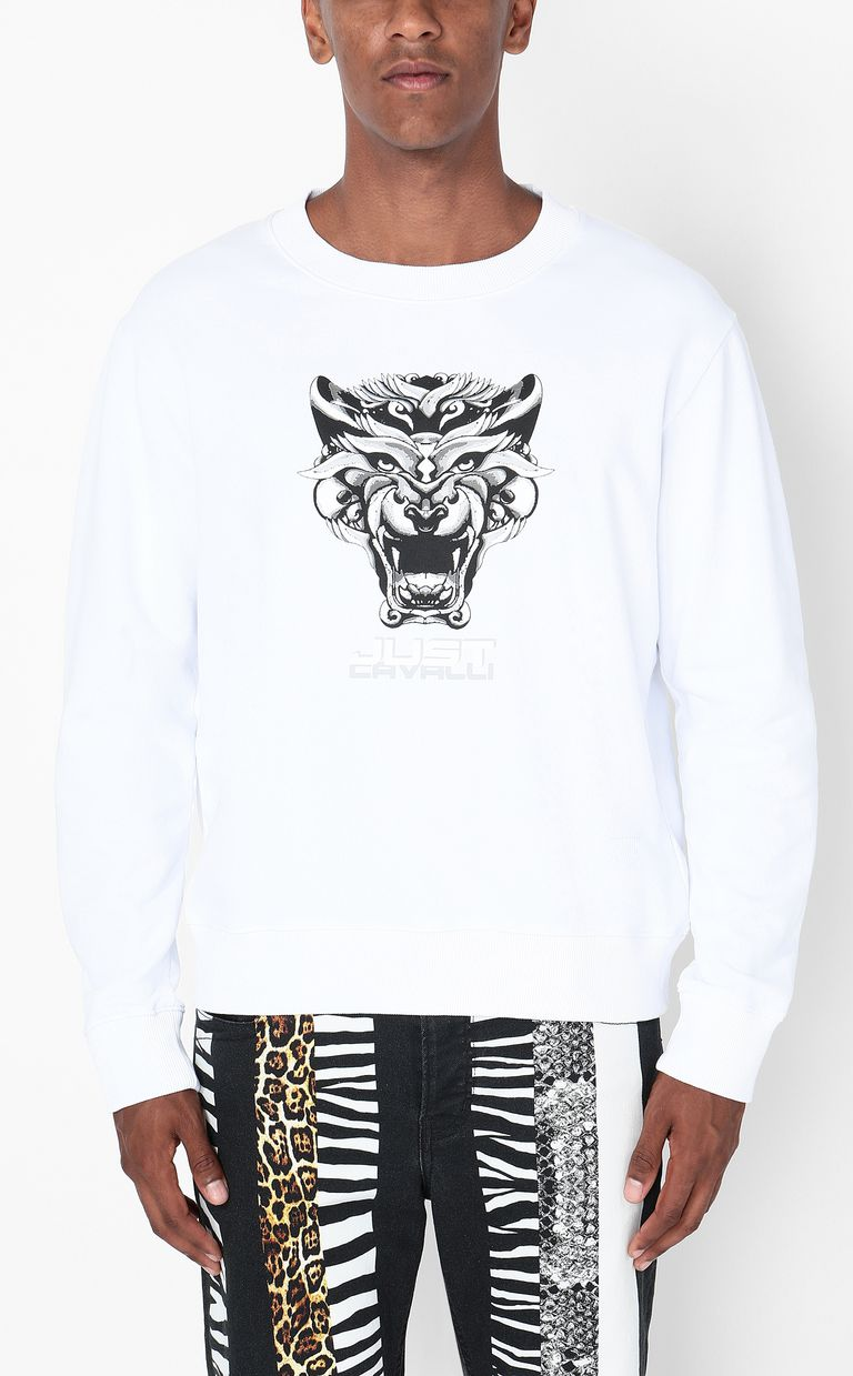 JUST CAVALLI Sweatshirt with Tiger-Knocker print Sweatshirt Man r