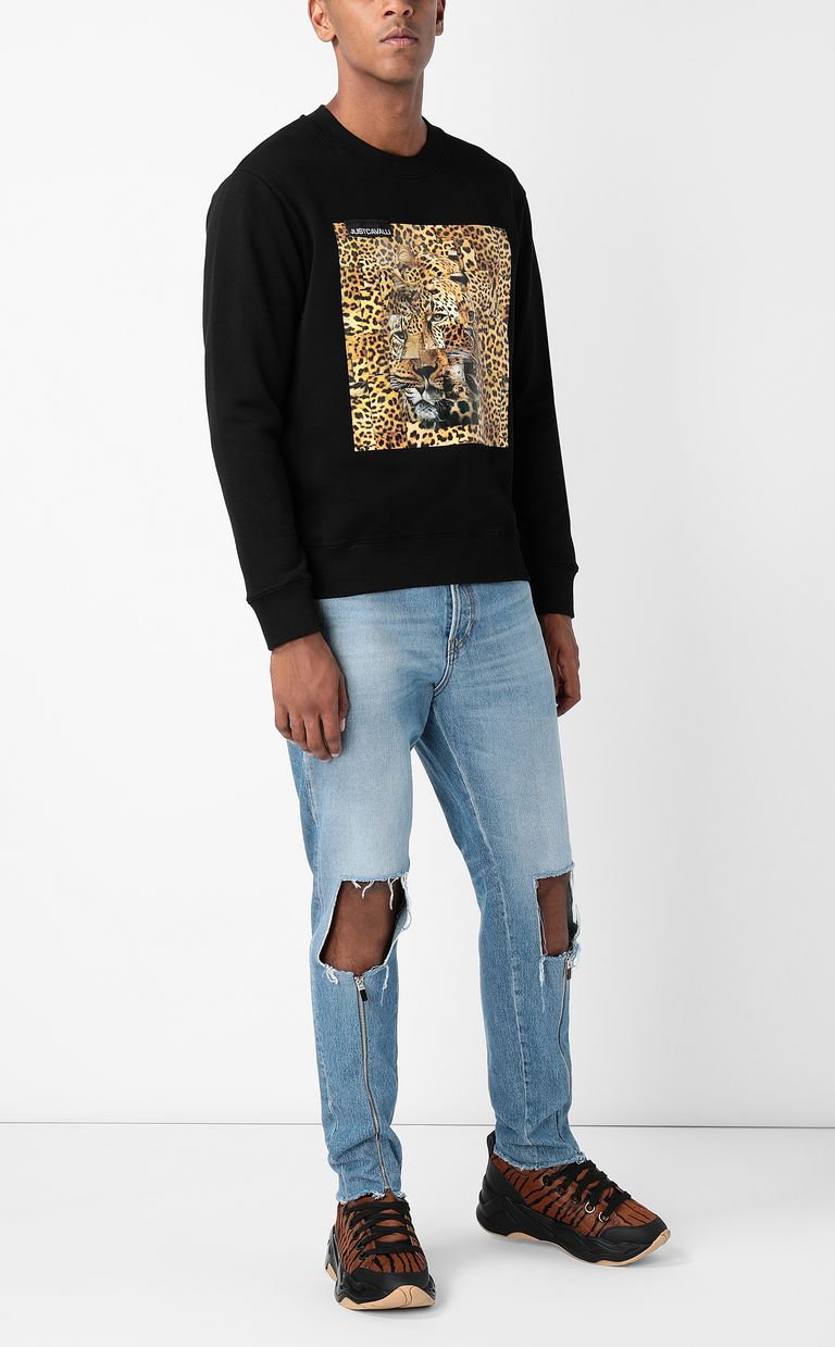 JUST CAVALLI Sweatshirt with Leo-Patchwork print Sweatshirt Man d