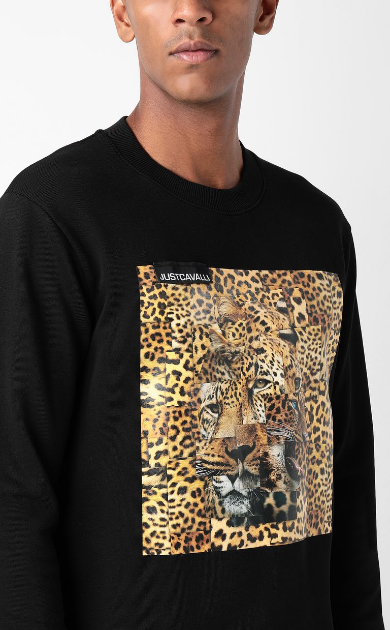 JUST CAVALLI Sweatshirt with Leo-Patchwork print Sweatshirt Man e