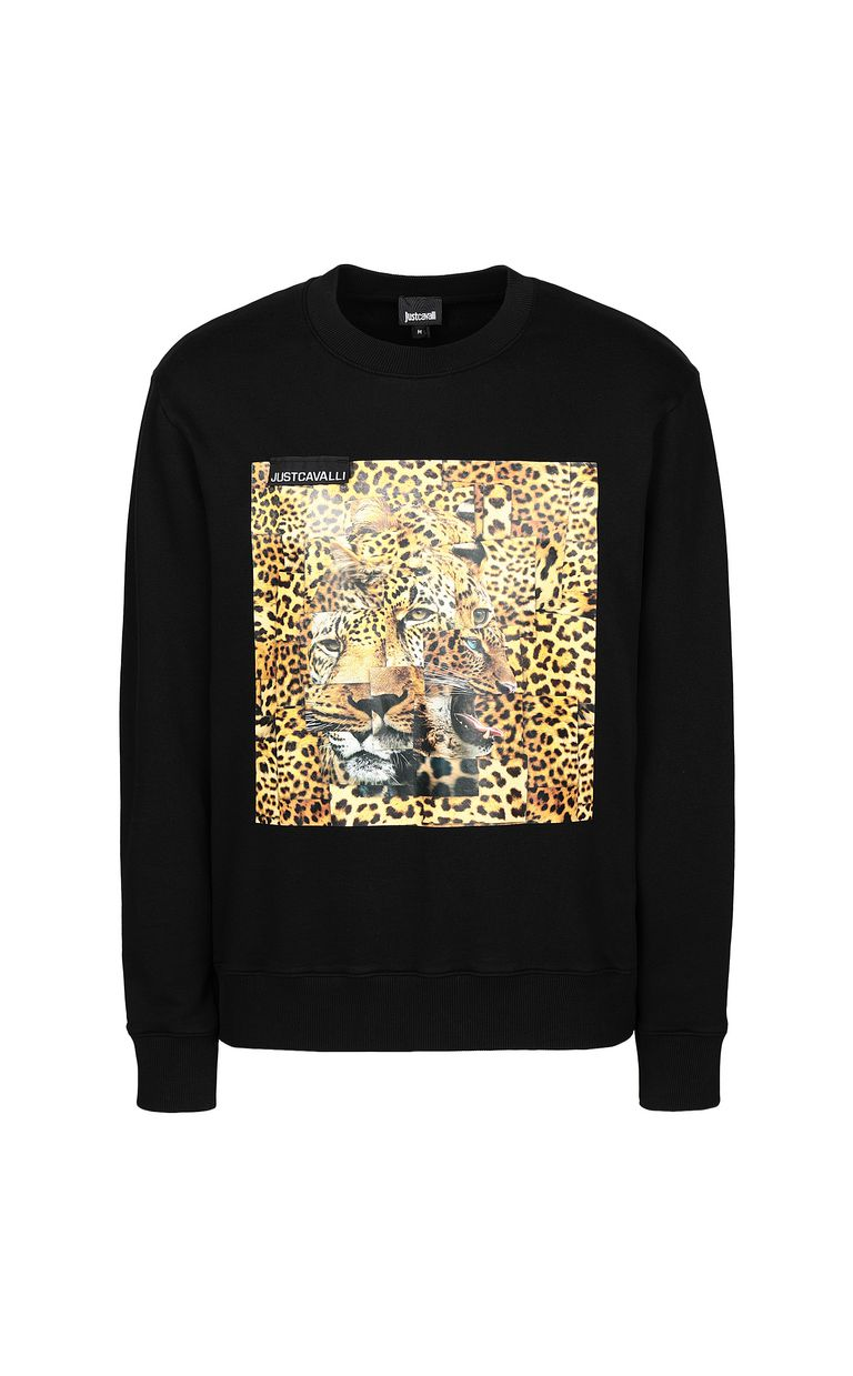 JUST CAVALLI Sweatshirt with Leo-Patchwork print Sweatshirt Man f