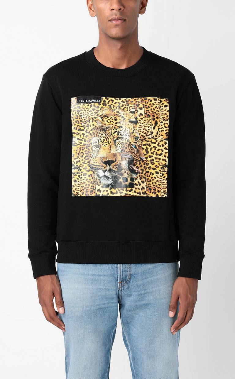 JUST CAVALLI Sweatshirt with Leo-Patchwork print Sweatshirt Man r