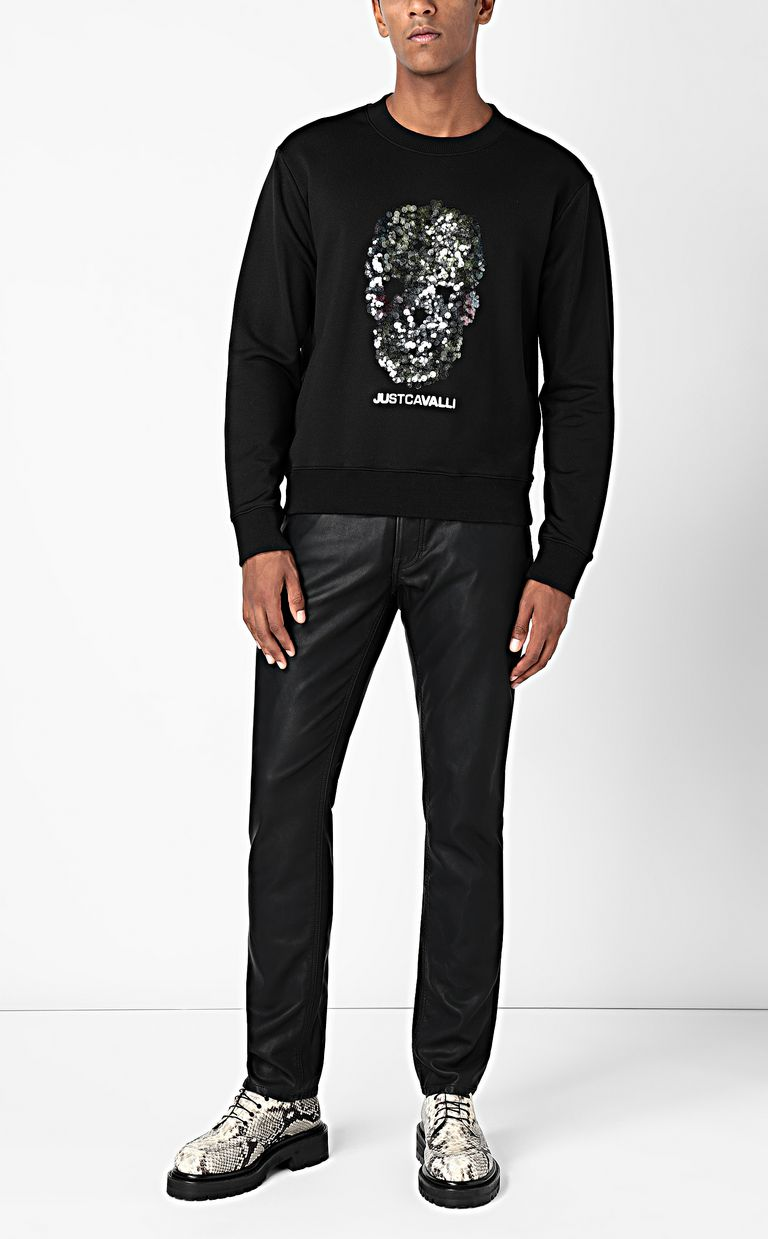 JUST CAVALLI Sweatshirt with sequinned skull Sweatshirt Man d