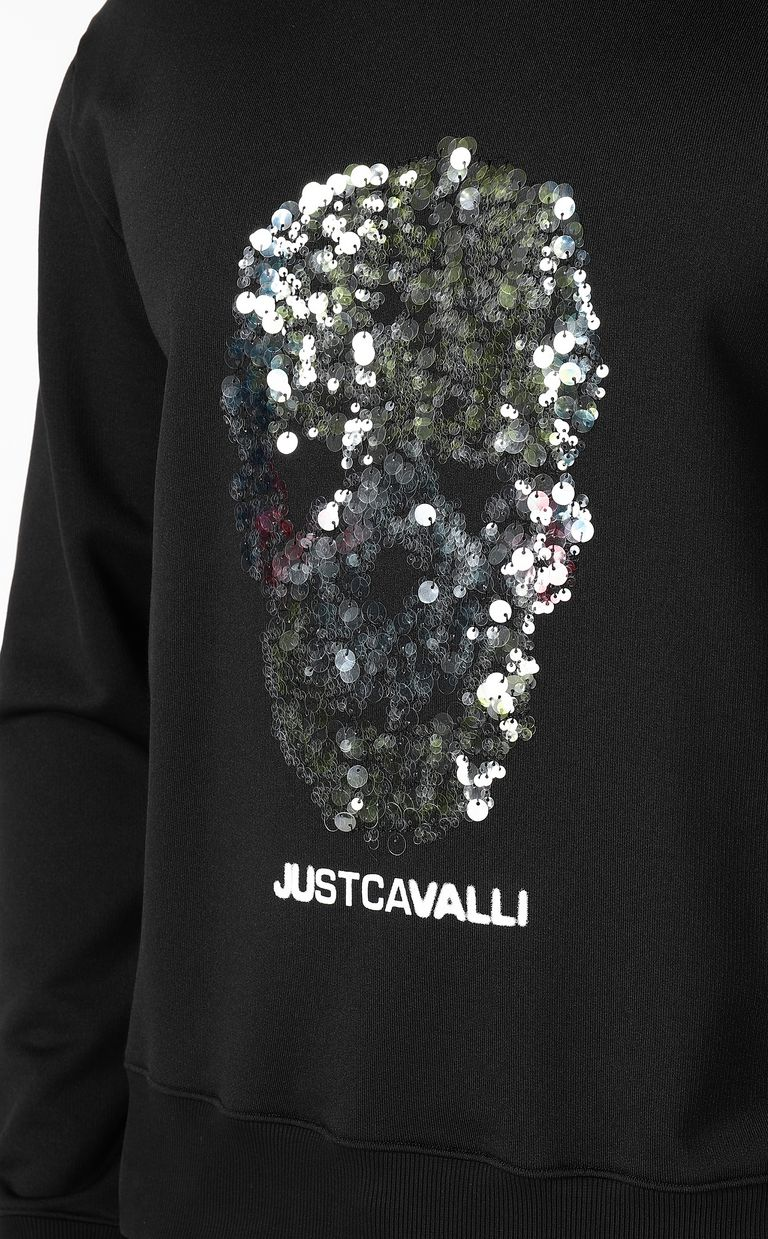 JUST CAVALLI Sweatshirt with sequinned skull Sweatshirt Man e