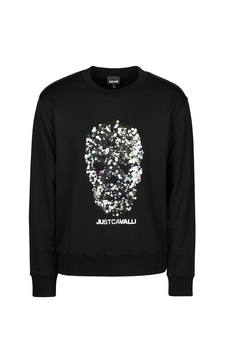 JUST CAVALLI Sweatshirt with sequinned skull Sweatshirt Man f