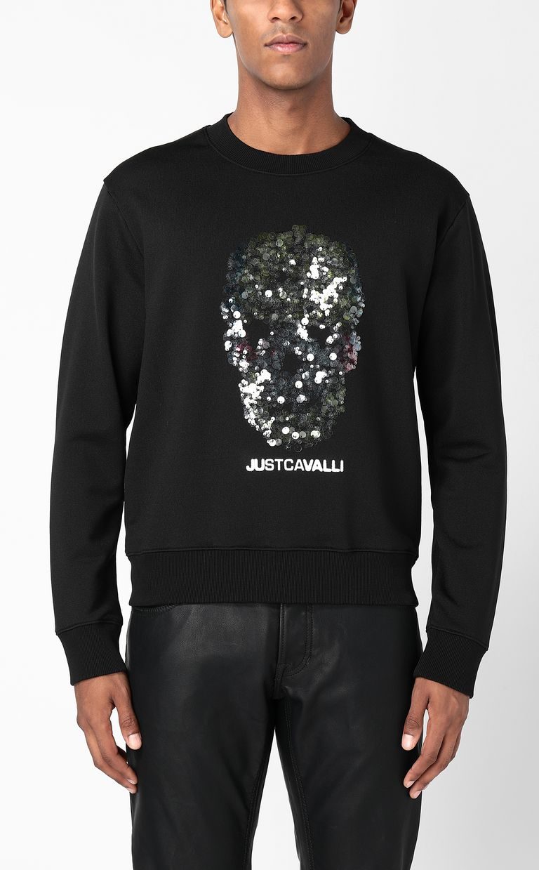 JUST CAVALLI Sweatshirt with sequinned skull Sweatshirt Man r