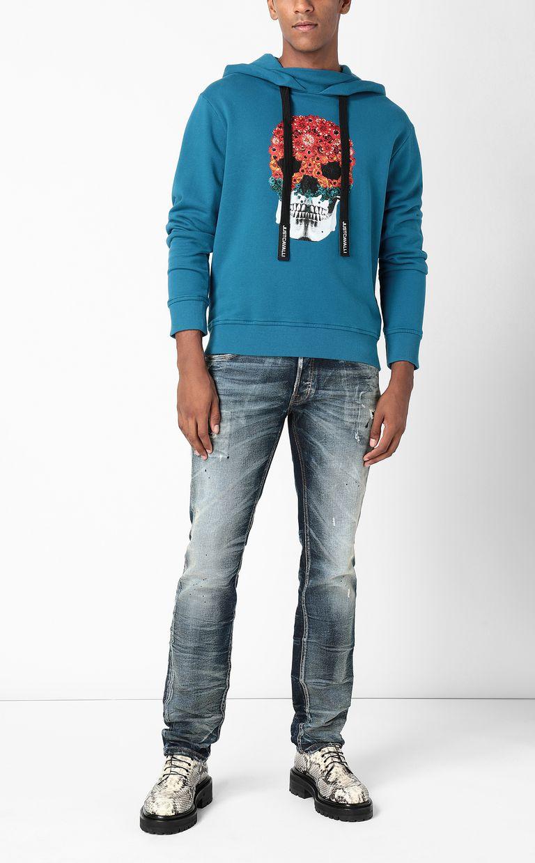 JUST CAVALLI Sweatshirt with Flower-Skull print Sweatshirt Man d