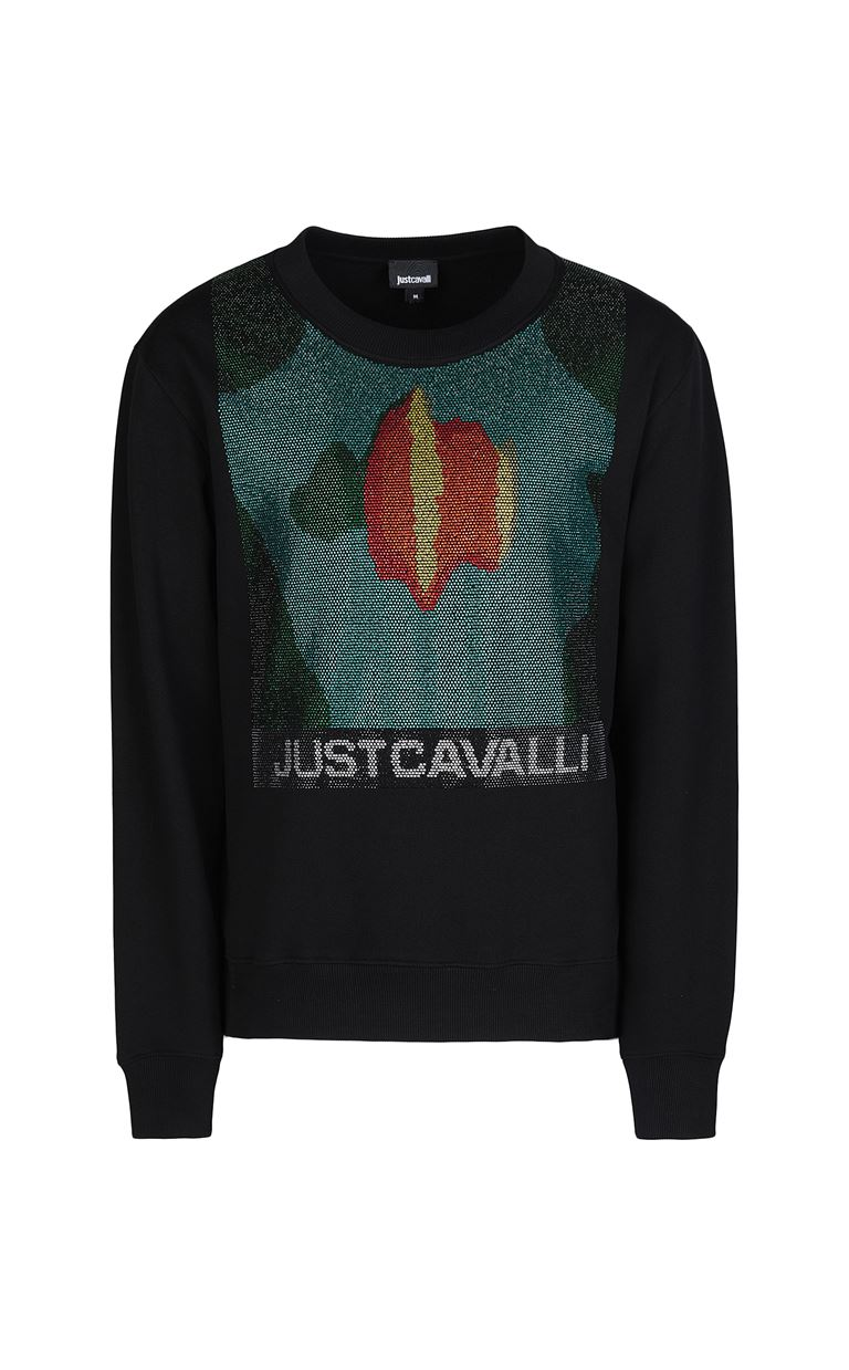 JUST CAVALLI Sweatshirt with small studs Sweatshirt Man f