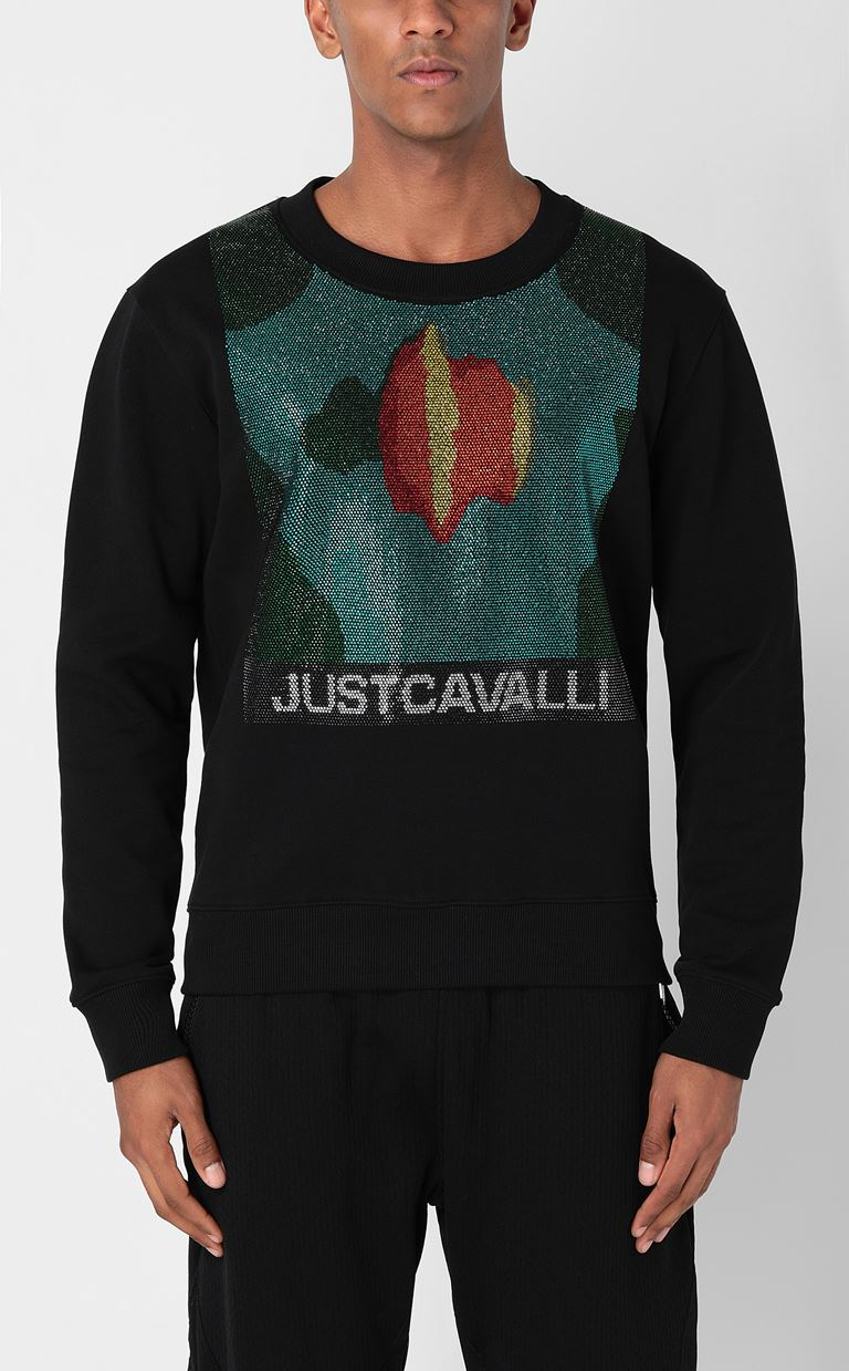 JUST CAVALLI Sweatshirt with small studs Sweatshirt Man r