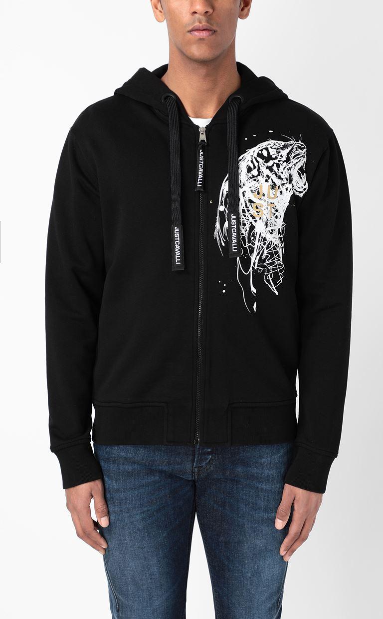 JUST CAVALLI Sweatshirt with tiger-stripe print Sweatshirt Man r