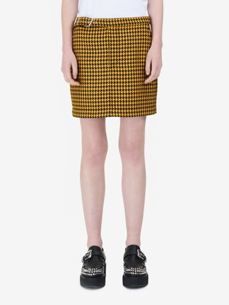 Dogtooth Belted Mini Skirt