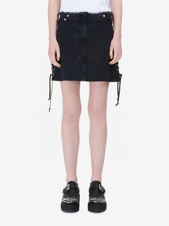 Lace-Up Mini Skirt