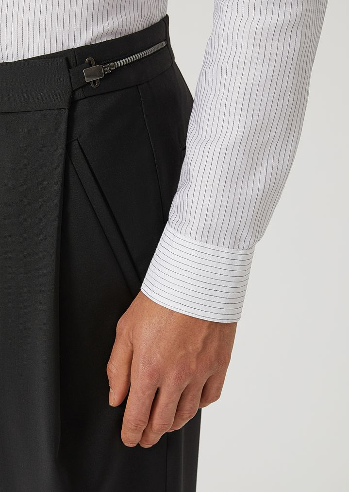 EMPORIO ARMANI Virgin Wool Trousers with metallic details Casual Pants Man a