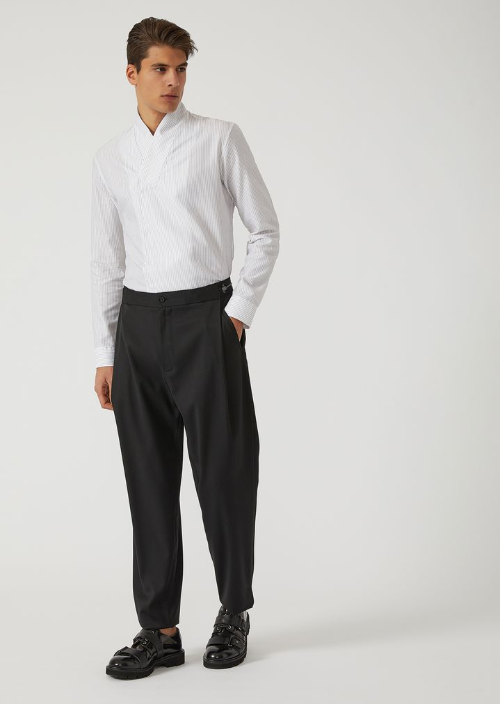 EMPORIO ARMANI Virgin Wool Trousers with metallic details Casual Pants Man d