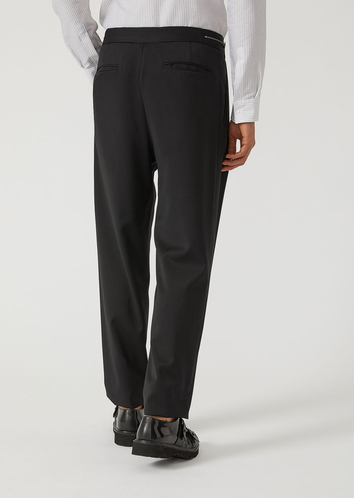 EMPORIO ARMANI Virgin Wool Trousers with metallic details Casual Pants Man e