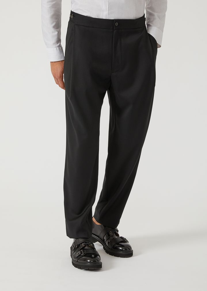 EMPORIO ARMANI Virgin Wool Trousers with metallic details Casual Pants Man f