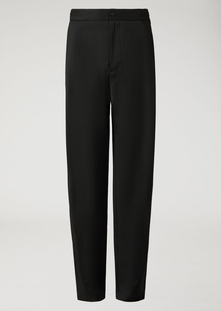 EMPORIO ARMANI Virgin Wool Trousers with metallic details Casual Pants Man r