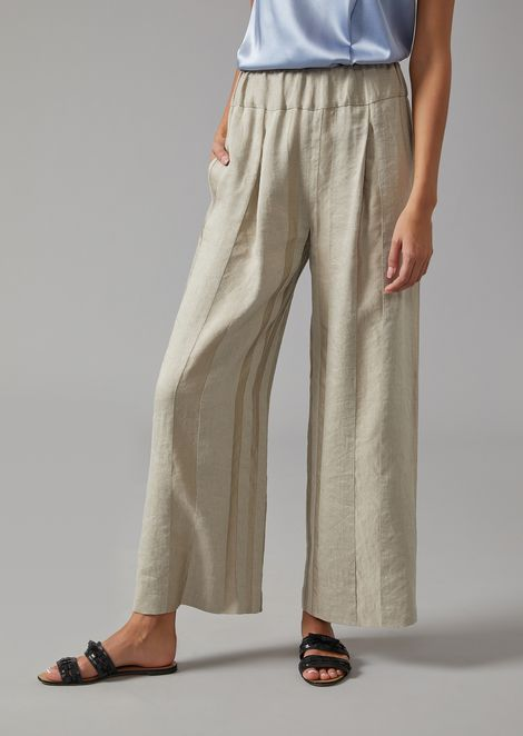 Striped linen-blend palazzo trousers