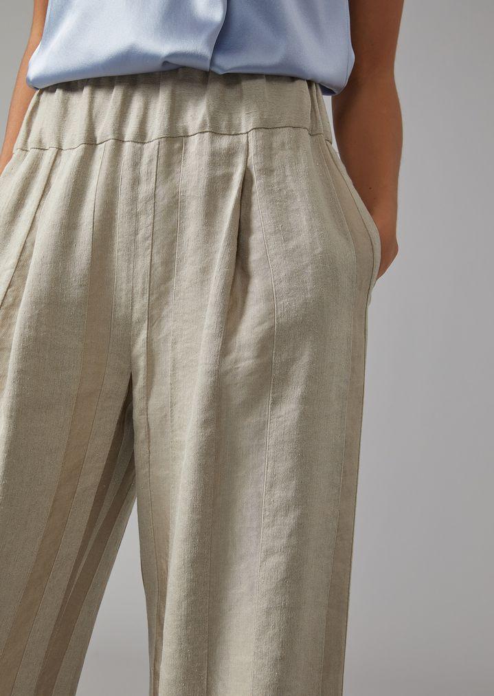 GIORGIO ARMANI Striped linen-blend palazzo trousers Pants Woman a