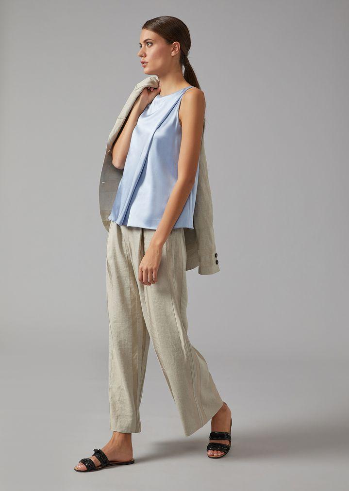 GIORGIO ARMANI Striped linen-blend palazzo trousers Pants Woman d