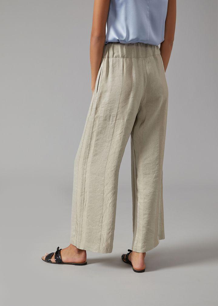 ba6e79d35d Striped linen-blend palazzo trousers | Woman | Giorgio Armani
