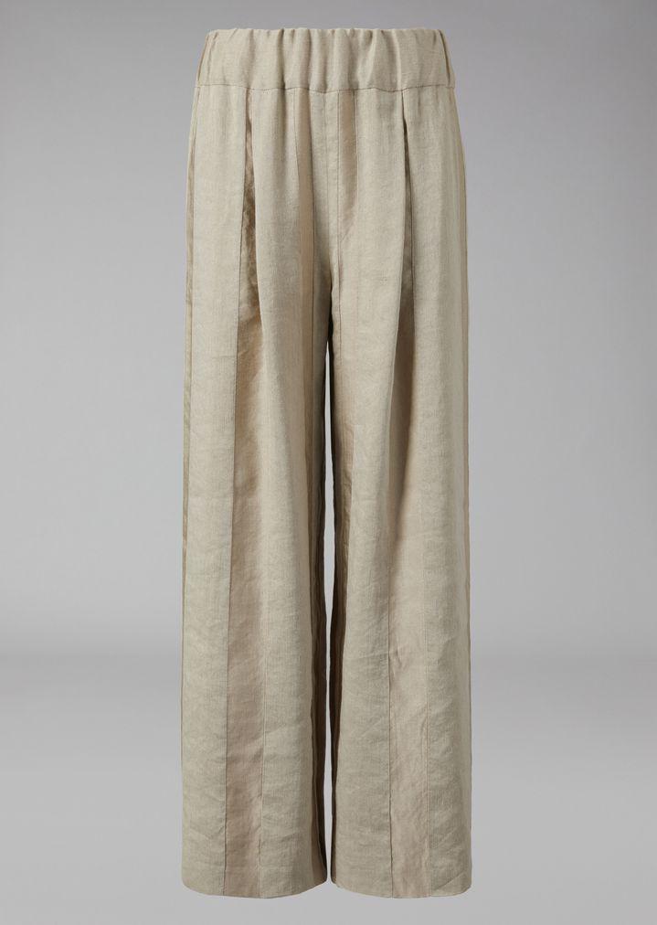 GIORGIO ARMANI Striped linen-blend palazzo trousers Pants Woman r
